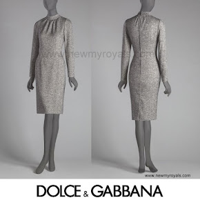 Queen Maxima Style Dolce and Gabbana Microprint Wool Sheath Dress
