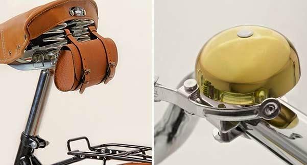 Bolsa de herramientas y timbre cobre Lt, accesorios combinados para bicicleta urbana.