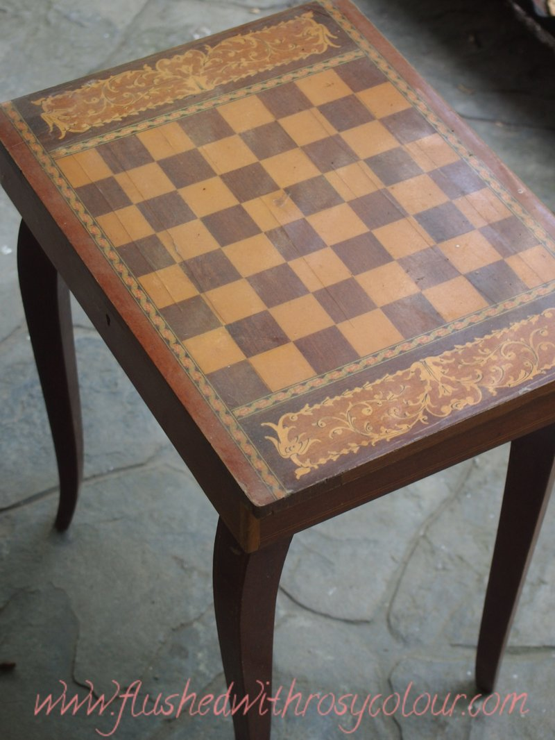 Flushed with rosy colour wooden inlaid chess table - Wooden chess tables ...