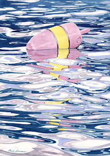 "Older Under-Painting For ""Pink And Yellow Buoy"" - Watercolor"