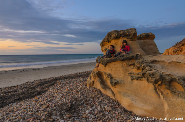 Kids like to climb up the rocks then enjoying spectacular views. Boulders at Sellicks Beach