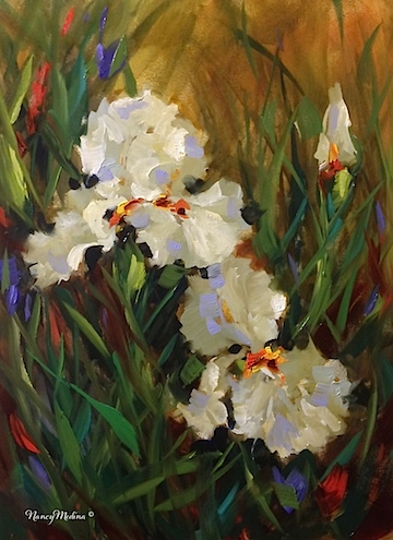 Forever Friends White Iris, 16X12, oil, and it's time to wash the puggies and put the brushes to bed! Good night, sleep tight, my flower friends... http://nancymedina.fineartstudioonline.com/workszoom/1462504