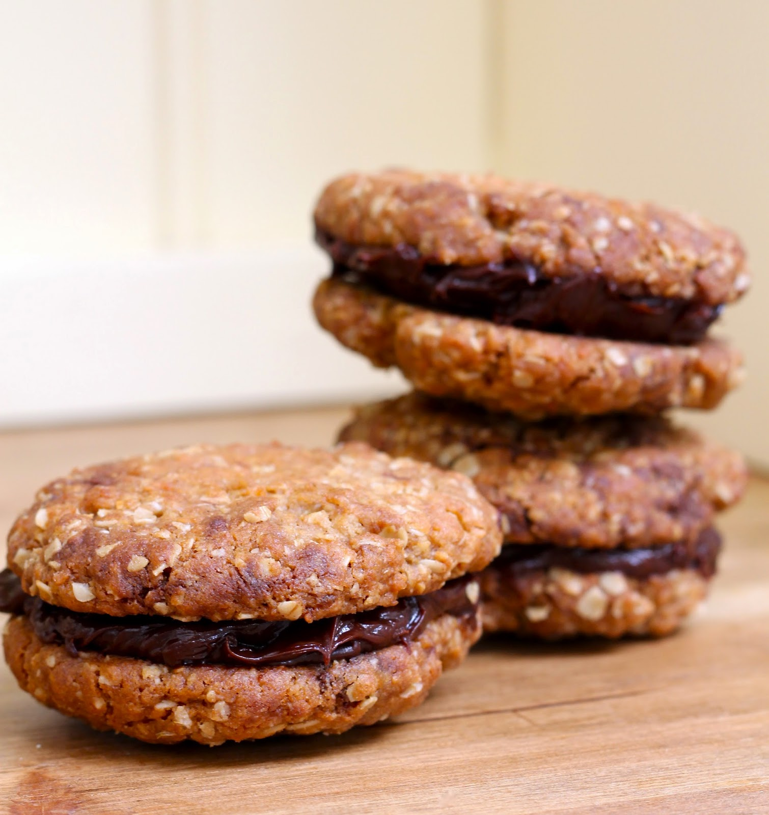 Sandwiched homemade chocolate hobnobs