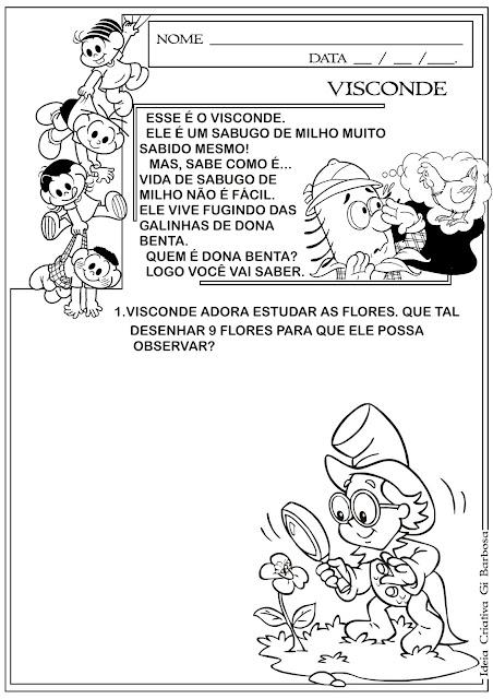Atividade Sítio do Pica Pau Amarelo- Dia do Livro Infantil Visconde