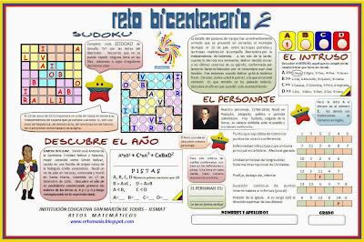 20 de Julio, 7 de Agosto, Independencia, Batalla de Boyacá, Día de la Raza, Fiestas Patrias, Problemas matemáticos, Desafíos matemáticos, Problemas de lógica, Problemas de Ingenio