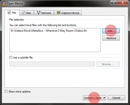 VLC media player as video converter