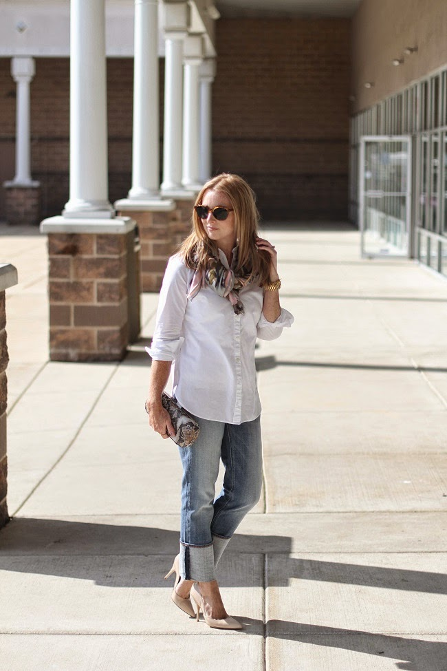 loft tunic shirt, jcrew factory straight leg jeans, kate spade nude heels, jcrew factory camo scarf