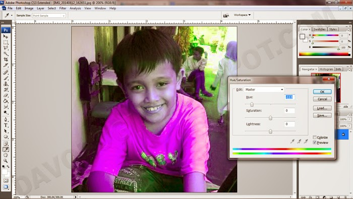 belajar hue photoshop