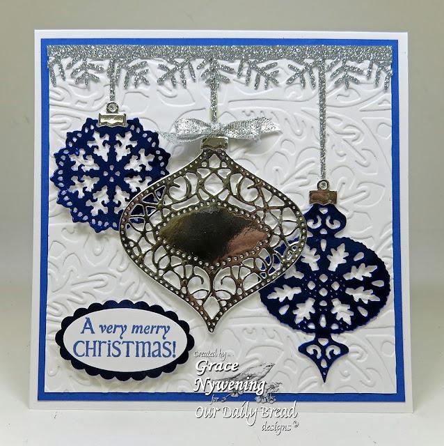 ODBD stamps: Jingle Bells, Fancy Ornaments Dies, designed by Grace Nywening