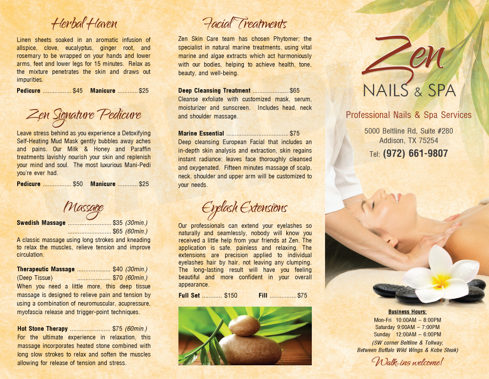 Tdesigner nails for Nail salon brochure