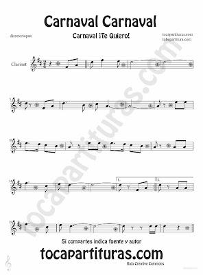 Tubescore Carnival Carnival sheet music for Clarinet Carnaval Te quiero traditional song music score
