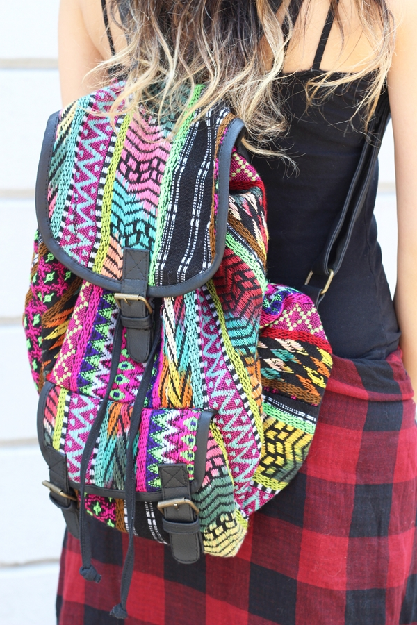 ethnic print printed backpack red flannel plaid shirt