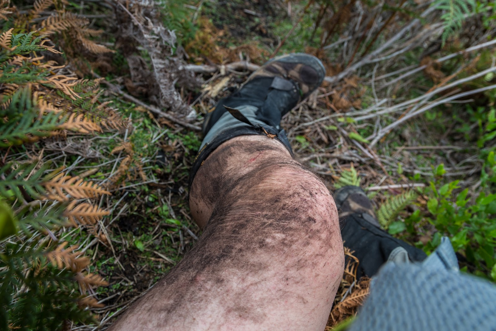 mud on leg after falling wilsons promontory