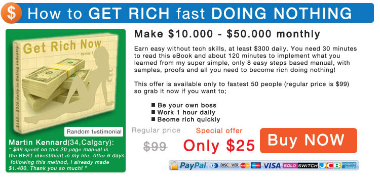 Want to be rich fast? Get FREE eBook that will change Your life, limited offer, Buy Now!