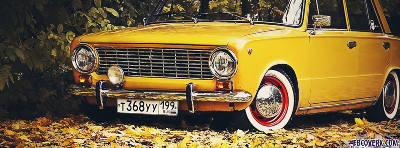 Old yellow car facebook cover