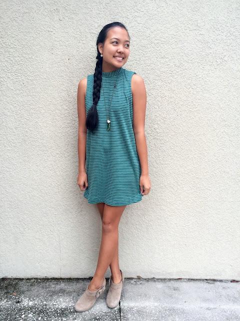 jersey shift dress, striped jersey dress, 60s inspired dress, sleeveless t-shirt dress, Lauren Banawa, high neck dress