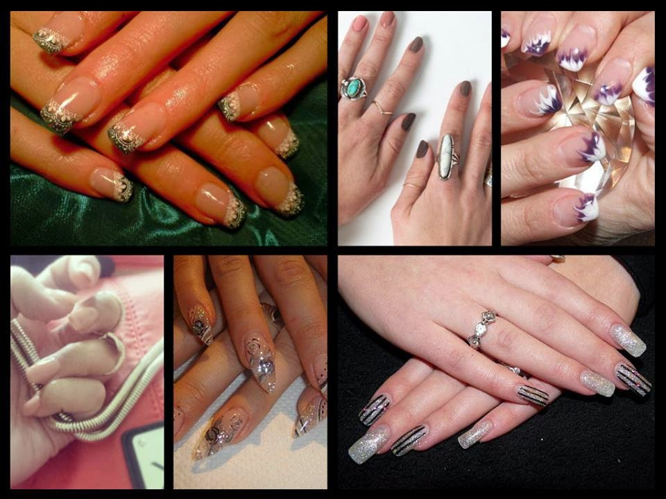 Acrylics LED polish glitz lace stamping nail art ombre extensions and manicure's