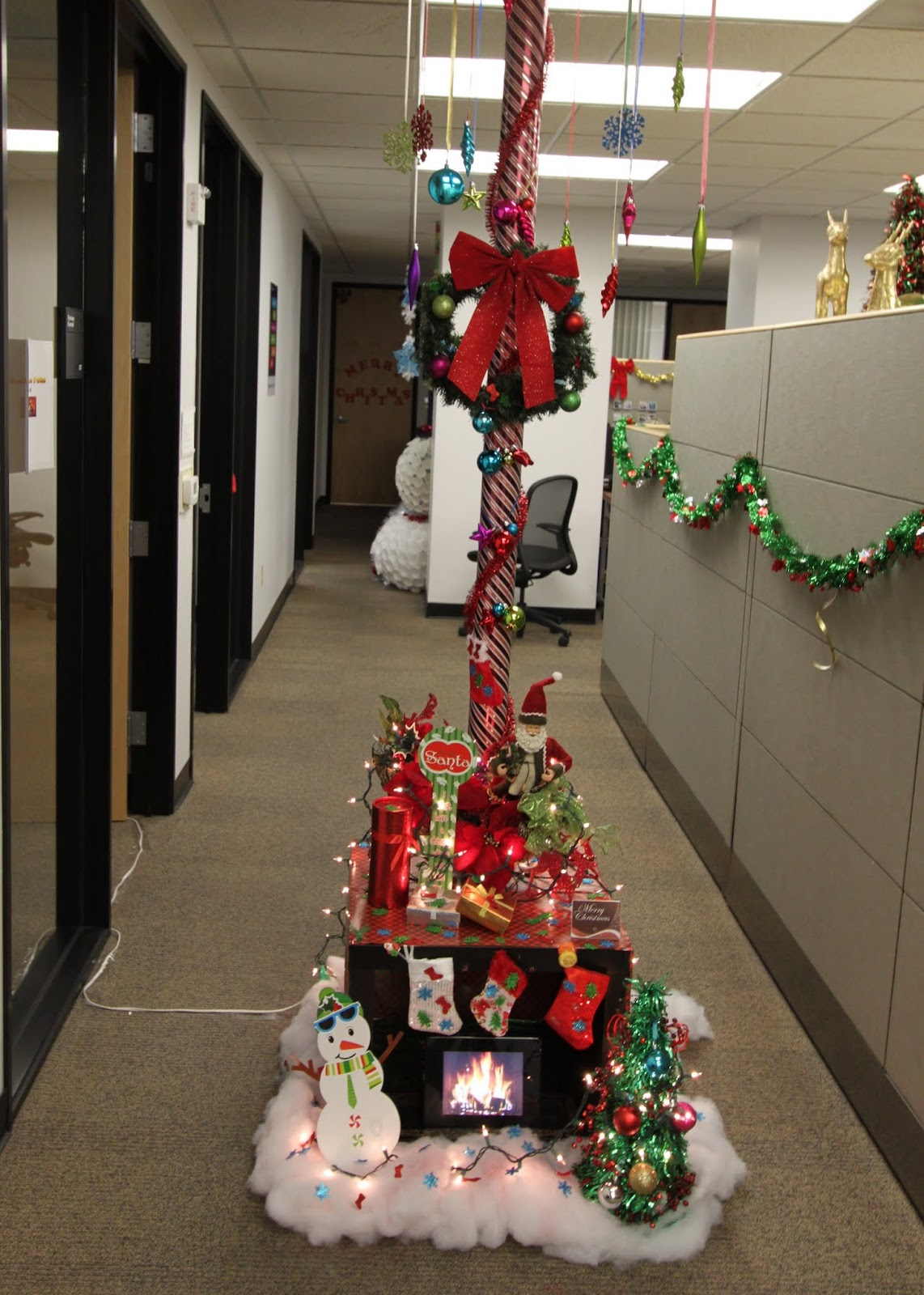the office holiday pole decorating contest | mid-century modern remodel