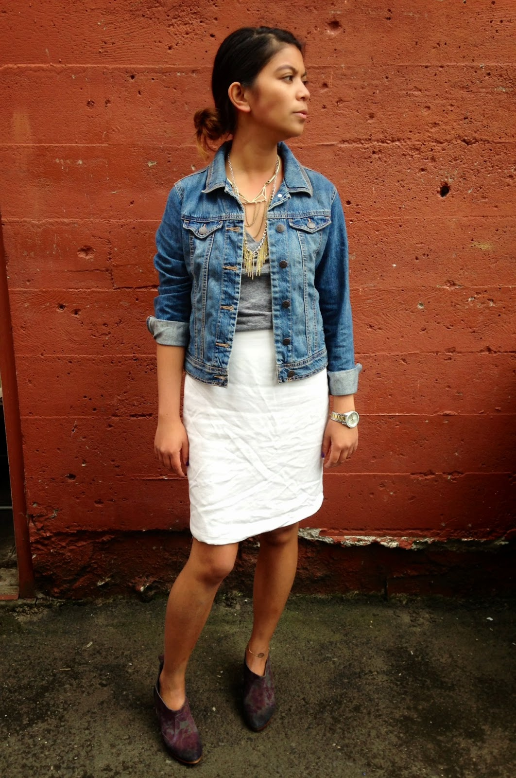 fashion blogger, look of the day, street style, portland blogger, august 2014, white skirt, jean jacket, booties, ootd, outfit of the day, look of the day