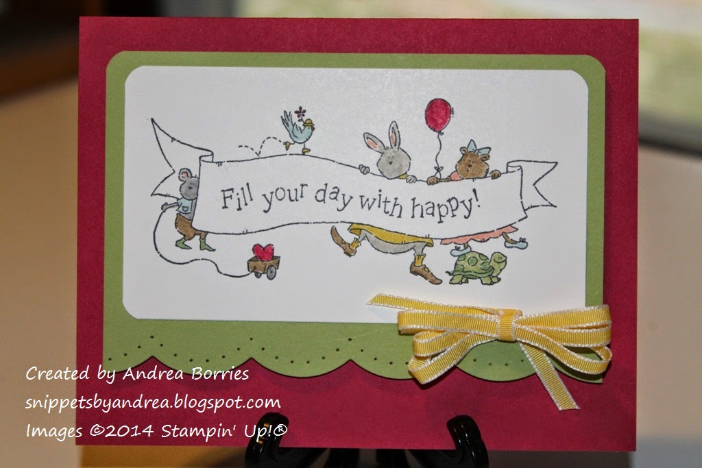"Rose Red card base with Pear Pizzazz layer in the middle. Focal image features cartoon animals holding a banner that says ""Fill your day with happy!"""
