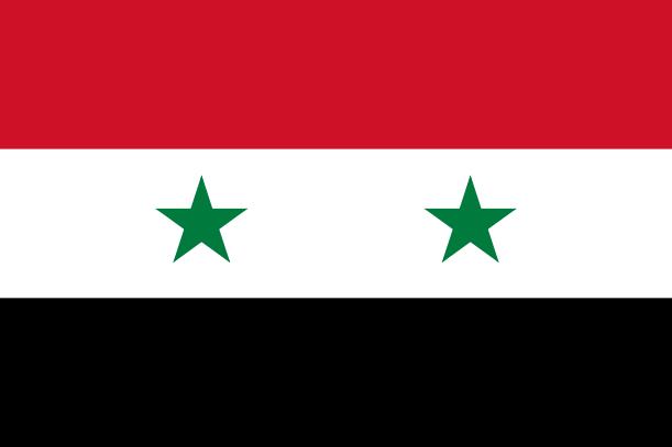 A bandeira da República Árabe da Síria