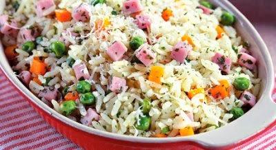 imagem de arroz com presunto
