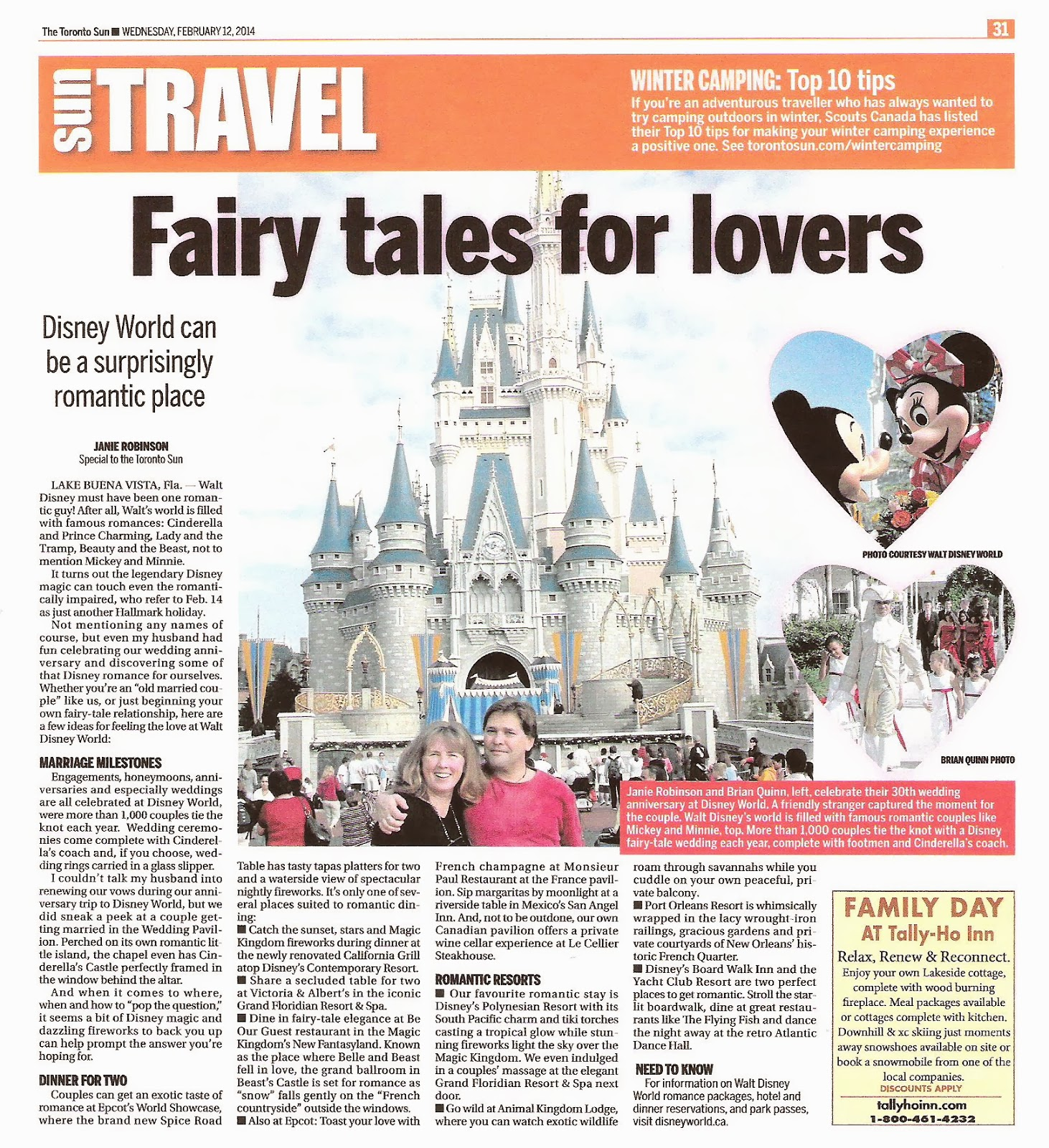 Valentine's Trip Disney World. Story photographs by Brian Quinn and Janie Robinson, Travel Writers