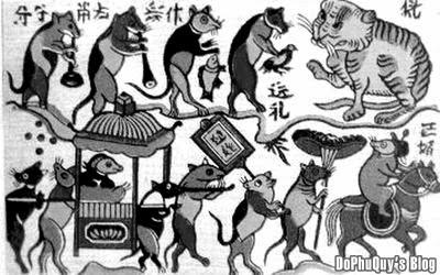 Bài thơ Đám Cưới Chuột từ tranh dân gian