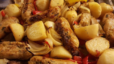 Vegetarian recipe roasted potato and sausage casserole