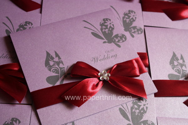 red purple garden wedding invitation cards
