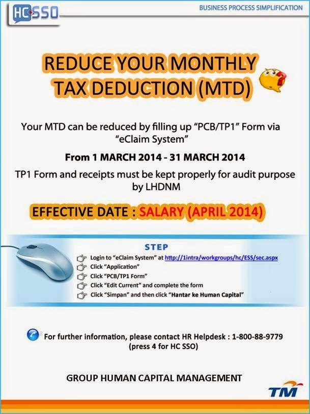 Reduce your Monthly Tax Deduction 2014