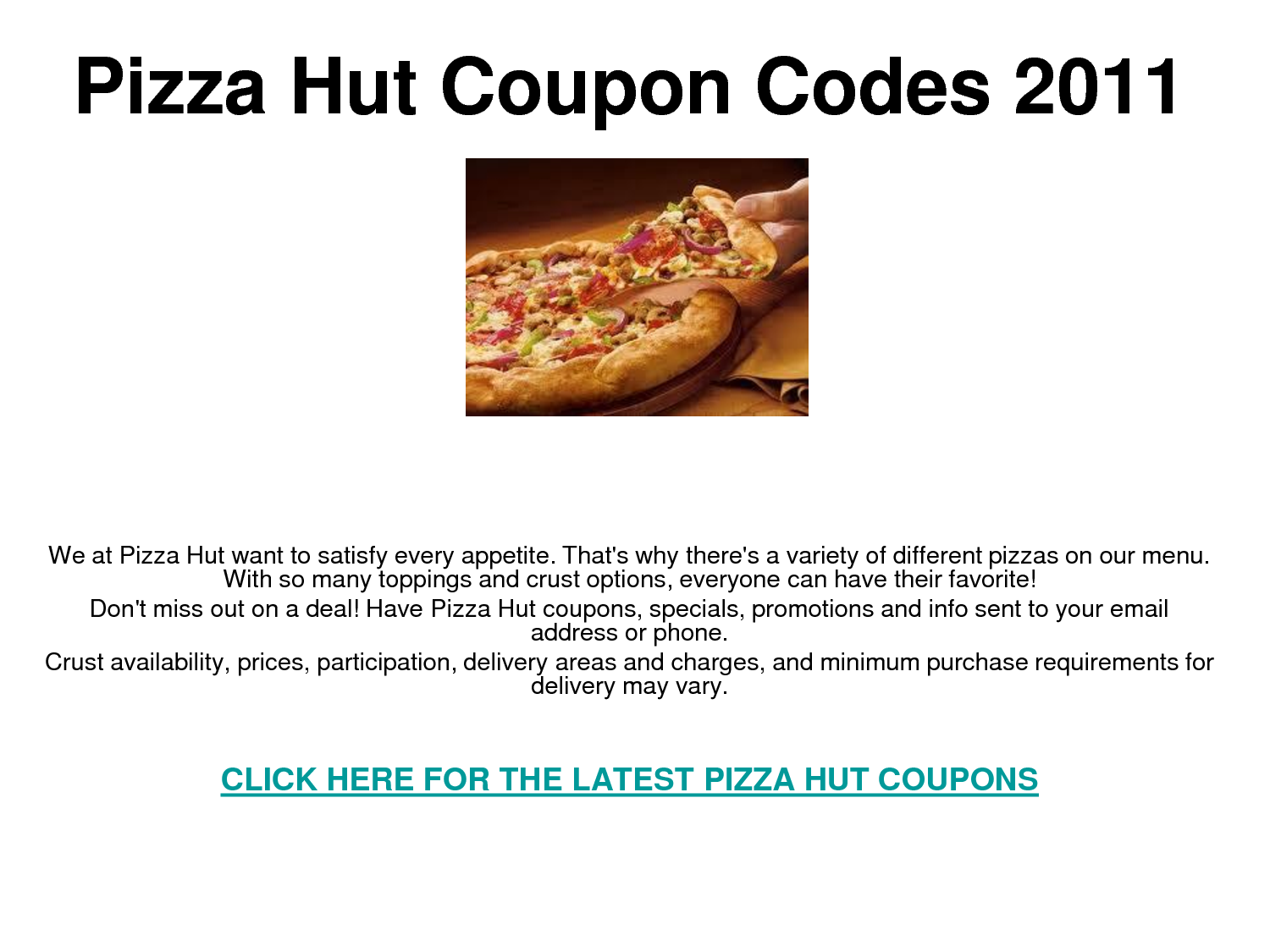 Pizza discount coupons