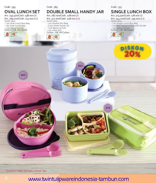 Promo Diskon Tulipware | September - Oktober 2015, , Oval Lunch Set, Double SHJ, Single Lunch Box