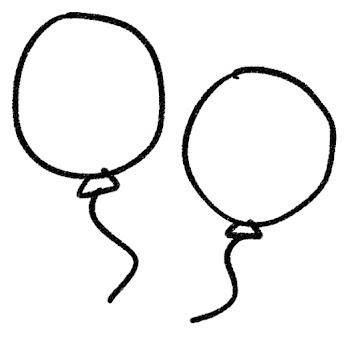 風船のイラスト 白黒線画