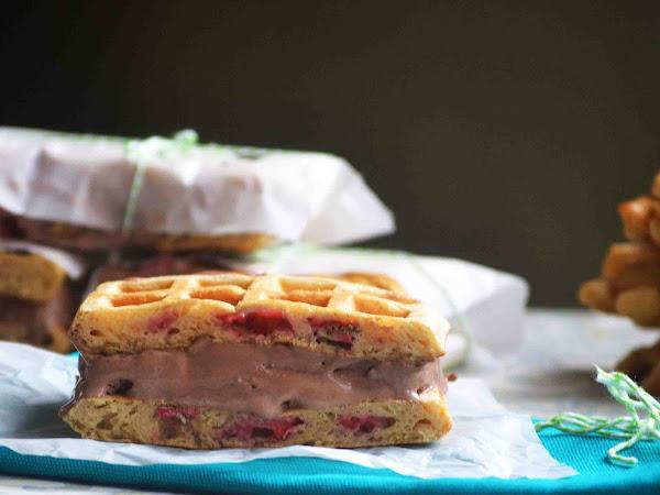 Skinny Strawberry Waffle Ice Cream Sandwiches ~SRC~