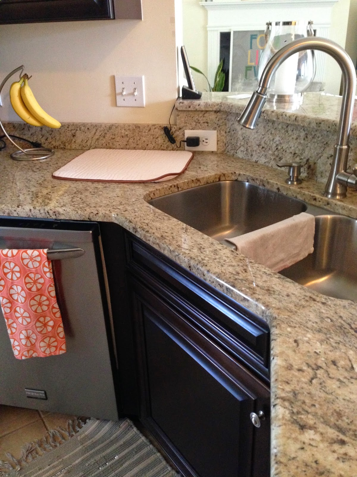 Inside out design organizing a few kitchen supplies i hate seeing the dish rag draped across the center of the sink and the dish drying mat always taking up counter space its a small thing but its workwithnaturefo