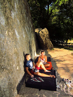 Austin and Nicole trying to beat the heat in between climbs at Bull Creek