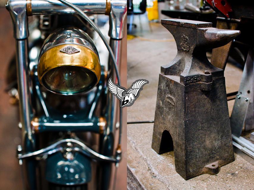 vincent black headlamp anvil at falcon motorcycles | photo by lance dawes