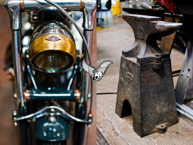 vincent black headlamp anvil at falcon motorcycles | photo by lance dawes