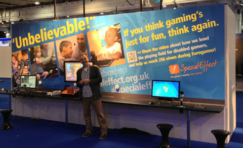 Mick Donegan, SpecialEffect CEO setting up at EuroGamer.