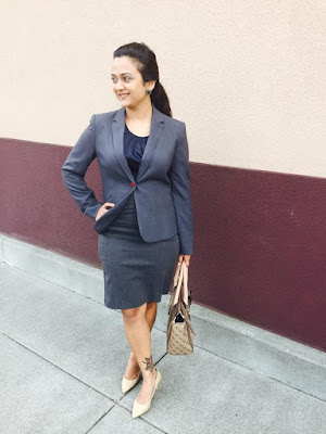 formal attire, grey formals, grey skirt with grey blazer, tan heels, ananya in formals, indian fashion blogger, ananya kiran, ananya tales