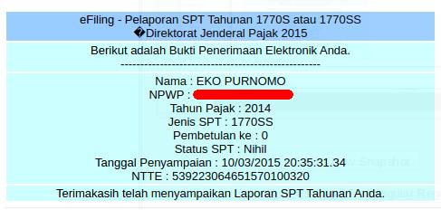 contoh bukti pengiriman spt pada email