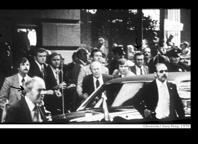 9/22/75: Secret Service Agent Ken Iacovoni (bottom left corner); other arrow: Donald Rumsfeld