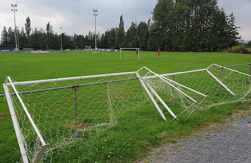 Goalposts at the ground where tragic Casey Breese was killed