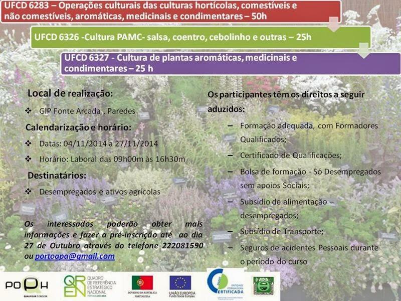 Cursos co financiados para desempregados e ativos agrícolas em Paredes (Porto)