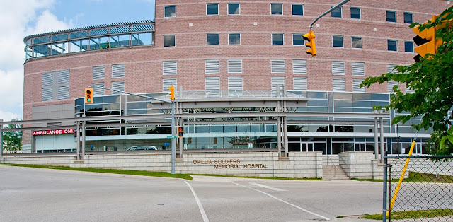 an overview of the new emergency wing at the base of the Community Tower section at Orillia Soldier's Memorial Hospital