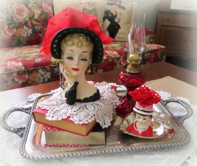 Head Vase Vintage Valentine's Day Vignette www.organizedclutterqueen.blogspot.com