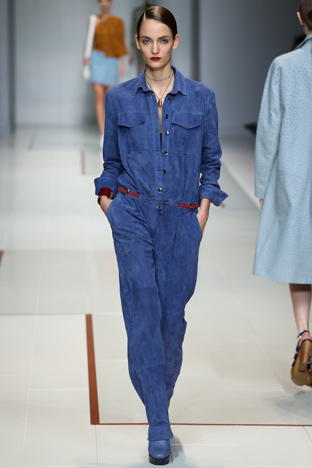 suede on the Spring/Summer 2015 runway at Porsche design, Bottega veneta, Loewe, Jill Stuart, Altuzarra, Chloe, Gucci, Ralph Lauren, Valentino, Michael Kors, Trussardi, Derek Lam via fashioned by love