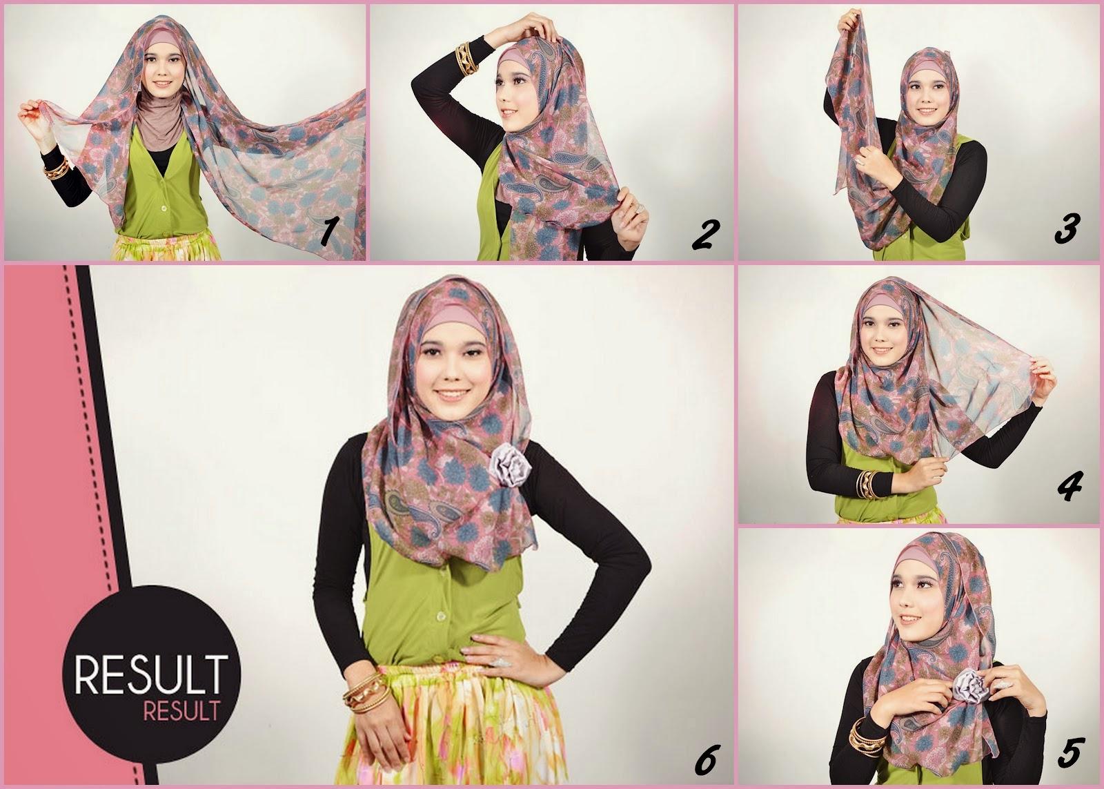 Cara Memakai Jilbab Pashmina Sifon Bunga Simple Cara Memakai