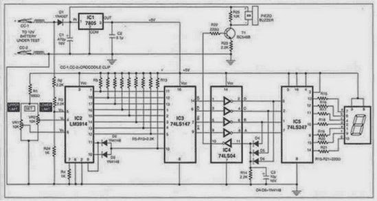 circuit diagram charge monitor for 12v lead acid battery using lm3914 ic
